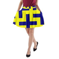 Pattern Blue Yellow Crosses Plus Style Bright A-Line Pocket Skirt