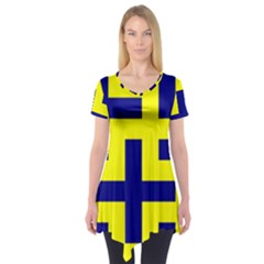 Pattern Blue Yellow Crosses Plus Style Bright Short Sleeve Tunic