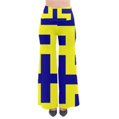 Pattern Blue Yellow Crosses Plus Style Bright Pants