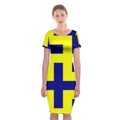 Pattern Blue Yellow Crosses Plus Style Bright Classic Short Sleeve Midi Dress