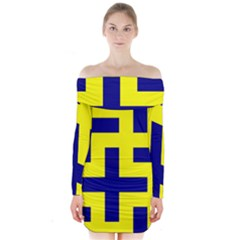 Pattern Blue Yellow Crosses Plus Style Bright Long Sleeve Off Shoulder Dress