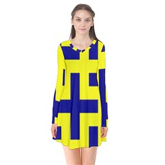 Pattern Blue Yellow Crosses Plus Style Bright Flare Dress
