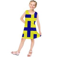 Pattern Blue Yellow Crosses Plus Style Bright Kids  Tunic Dress