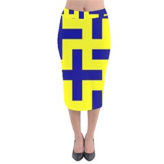 Pattern Blue Yellow Crosses Plus Style Bright Velvet Midi Pencil Skirt