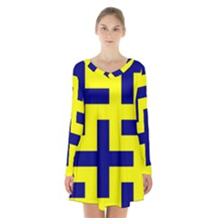 Pattern Blue Yellow Crosses Plus Style Bright Long Sleeve Velvet V Neck Dress