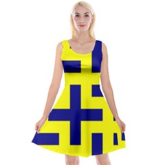 Pattern Blue Yellow Crosses Plus Style Bright Reversible Velvet Sleeveless Dress