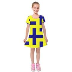 Pattern Blue Yellow Crosses Plus Style Bright Kids  Short Sleeve Velvet Dress