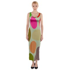 Pattern Design Abstract Shapes Fitted Maxi Dress