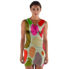 Pattern Design Abstract Shapes Wrap Front Bodycon Dress