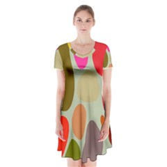 Pattern Design Abstract Shapes Short Sleeve V-neck Flare Dress