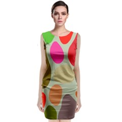 Pattern Design Abstract Shapes Sleeveless Velvet Midi Dress