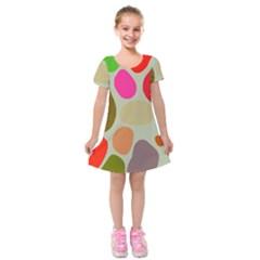 Pattern Design Abstract Shapes Kids  Short Sleeve Velvet Dress