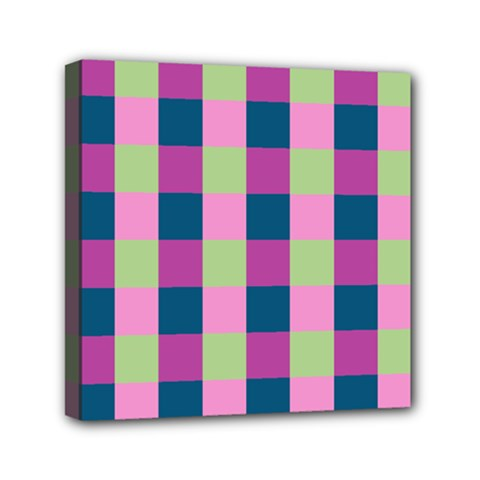 Pink Teal Lime Orchid Pattern Mini Canvas 6  x 6