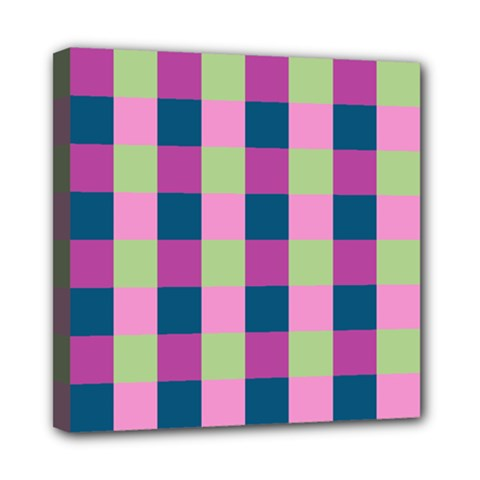 Pink Teal Lime Orchid Pattern Mini Canvas 8  x 8