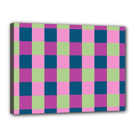 Pink Teal Lime Orchid Pattern Canvas 16  x 12