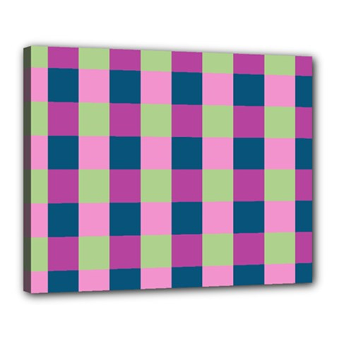 Pink Teal Lime Orchid Pattern Canvas 20  x 16