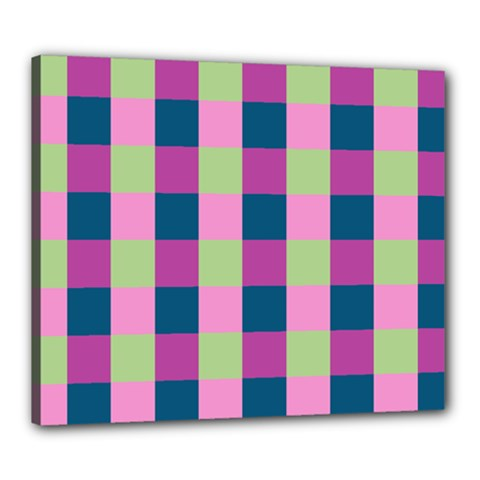 Pink Teal Lime Orchid Pattern Canvas 24  x 20