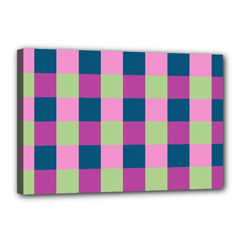 Pink Teal Lime Orchid Pattern Canvas 18  x 12