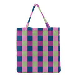 Pink Teal Lime Orchid Pattern Grocery Tote Bag