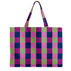 Pink Teal Lime Orchid Pattern Zipper Mini Tote Bag