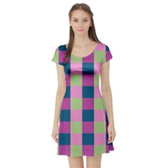 Pink Teal Lime Orchid Pattern Short Sleeve Skater Dress