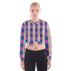 Pink Teal Lime Orchid Pattern Women s Cropped Sweatshirt