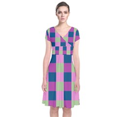 Pink Teal Lime Orchid Pattern Short Sleeve Front Wrap Dress