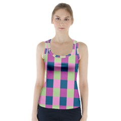 Pink Teal Lime Orchid Pattern Racer Back Sports Top