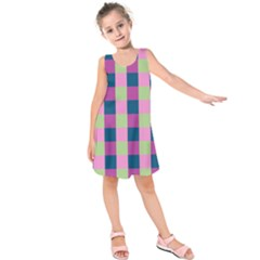 Pink Teal Lime Orchid Pattern Kids  Sleeveless Dress