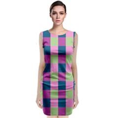 Pink Teal Lime Orchid Pattern Sleeveless Velvet Midi Dress