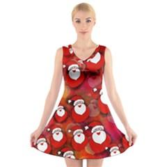 Seamless Santa Tile V-Neck Sleeveless Skater Dress
