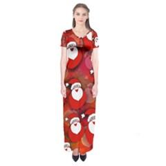 Seamless Santa Tile Short Sleeve Maxi Dress