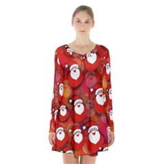 Seamless Santa Tile Long Sleeve Velvet V Neck Dress
