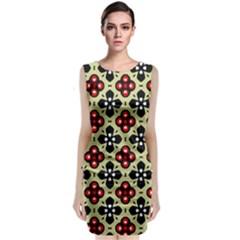 Seamless Tileable Pattern Design Sleeveless Velvet Midi Dress