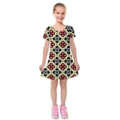 Seamless Tileable Pattern Design Kids  Short Sleeve Velvet Dress