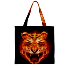 Tiger Zipper Grocery Tote Bag