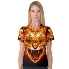 Tiger Women s V-Neck Sport Mesh Tee