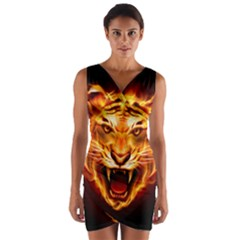 Tiger Wrap Front Bodycon Dress