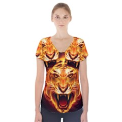 Tiger Short Sleeve Front Detail Top