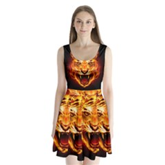 Tiger Split Back Mini Dress