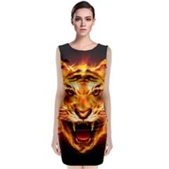 Tiger Sleeveless Velvet Midi Dress