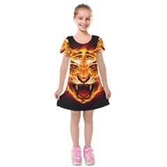 Tiger Kids  Short Sleeve Velvet Dress