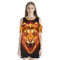 Tiger Shoulder Cutout Velvet  One Piece