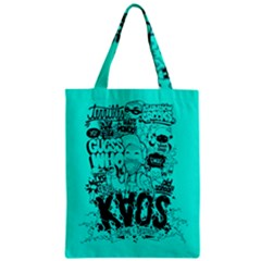 Typography Illustration Chaos Zipper Classic Tote Bag