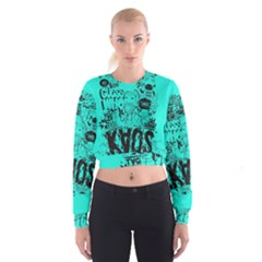 Typography Illustration Chaos Women s Cropped Sweatshirt