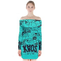 Typography Illustration Chaos Long Sleeve Off Shoulder Dress