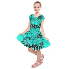 Typography Illustration Chaos Kids  Short Sleeve Dress
