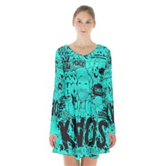 Typography Illustration Chaos Long Sleeve Velvet V Neck Dress