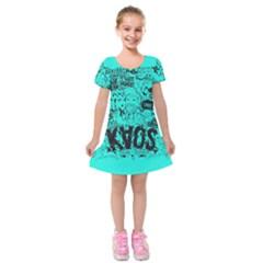 Typography Illustration Chaos Kids  Short Sleeve Velvet Dress