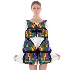 Abstract Animal Art Butterfly Long Sleeve Skater Dress